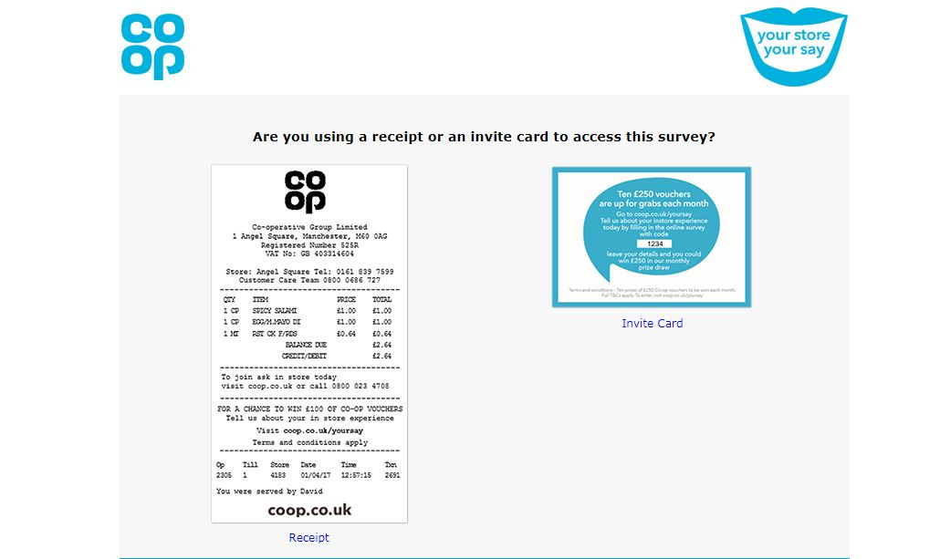 Coop Have Your Say Survey